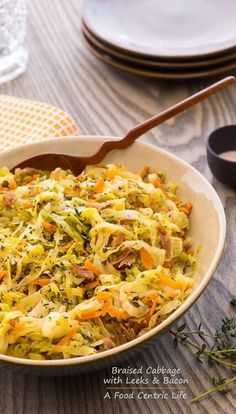 Savory Braised Cabbage with Leeks and Bacon is a super-flavorful side dish for roast chicken, salmon or topped with a poached egg for weekend breakfasts.