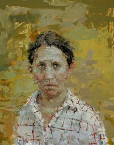 Ann Gale-Self Portrait with Red Grid, 2012   Oil on masonite   14 x 11 inches