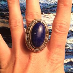 💞 W J Johnson Navajo signed lapis lazuli ring Vintage statement ring 100% real beautiful piece. Size 8 (at least.. I don't have a measurer) Oversized style ask for more details Jewelry Rings