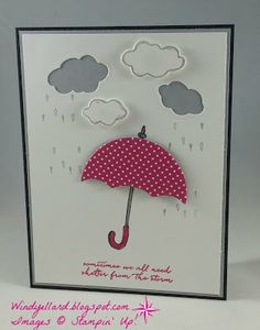 Windy's Wonderful Creations: #GDP045 Shelter From The Storm, Stampin' Up!, Umbrella Weather dies, Weather Together, Pop of Pink DSP