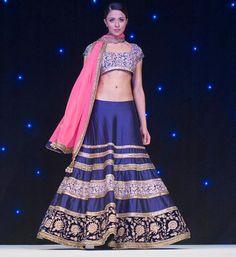 manish malhotra blue gold pink lengha indian wedding