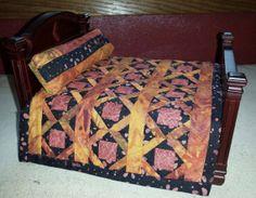 Rust  Orange  Black Batik Miniature Quilt by HairOfTheDogQuilts, $350.00