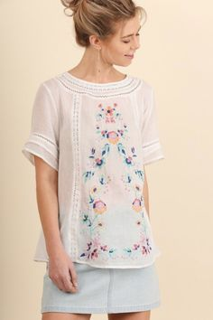 Vintage Love Collection Embroidered Top - Off White