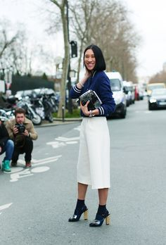#EvaChen. The jacket is Levi's, pants from Topshop, Fendi heels & Ferragamo bag. a high/low mix to keep it real, #PFW worthy deets. the levels of clever are mega.