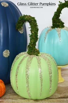 The 8 Coolest Decorative Pumpkins for Fall: DiY Glass Glitter Pumpkins