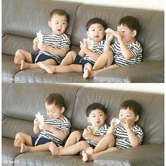 SIK triplets are so damn adorable Cute Kids, Cute Babies, Baby Kids, Triplet Babies, Superman Kids, Man Se, Song Triplets, Song Daehan, Baby Corner