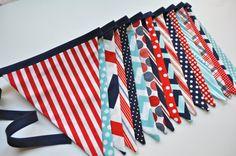 Boys XL fabric pennant banner bunting, Navy blue, red & aqua, boys room, playroom, birthday party decor, photo prop via Etsy