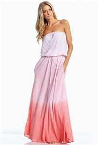 e18444651080 Elan International Strapless Smock Hip Maxi Dress in Peach Ombre Beautiful  Maxi Dresses, Trendy Dresses