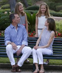 King Felipe, Queen Letizia and their daugthers Princess Leonor and Princess Sofia posed for the media during the annual 2016 summer photo session at the Marivent Palace on August 4, 2016 in Palma de Mallorca, Spain.