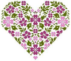 Heart and Flowers cross stitch pattern