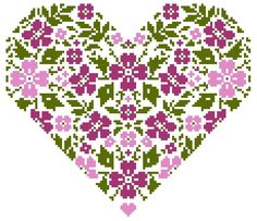 Heart and Flowers cross stitch pattern