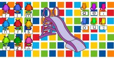 Document Notebook pour travailler la fusion syllabique des consonnes longues et des voyelles! Les élèves font grimper un monstre en haut de la glissade et le fait glisser en faisant le son de la lettre jusqu'à un chat voyelle qui l'attend en bas! Quand le monstre arrive au bas de la glis Tni Maternelle, Teaching Tools, Teacher Resources, Literacy Activities, Activities For Kids, French Resources, Reading Centers, Learning The Alphabet, New Job