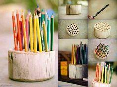 15 Creative DIY Log Ideas - Always in Trend | Always in Trend ~ Pencil Holder