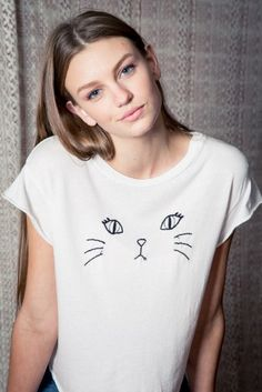 Brandy ♥ Melville   Elin Kitty Embroidery Top - Graphics