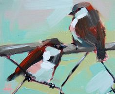 Two Sparrows on Fence original bird oil painting by Angela Moulton prattcreekart