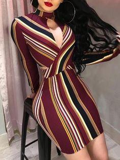 Multicolor Stripes Cutout Bodycon Dress - #dress #dresses #womendress