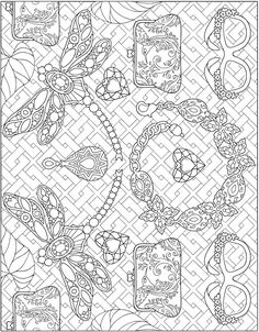 ESCAPES Fashion Art Coloring Book by: Marty Noble - Welcome to Dover Publications - Coloring Page 2