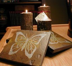 BUTTERFLY COASTERS SET - Carved Natural Slate Stone - More Drink Coasters Available. $29.00, via Etsy.