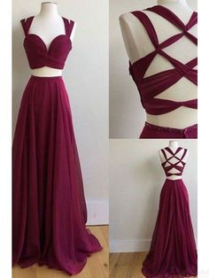 two pieces prom dresses,long chiffon evening dresses #SIMIBridal #Promdresses #eveningdresses #shortpromdresses