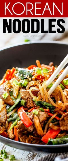 These are my FAV!!! These Korean Spicy Noodles are super easy and better than your favorite restaurant! They're loaded with tender juicy steak (or chicken/shrimp) veggies, and noodles all bathed in a spicy soy, ginger, garlic sesame sauce. It is intensely flavorful and tantalizingly delicious! I#korean #stirfry #noodles #steak #dinner #easydinner #recipes #koreanrecipes #mushrooms #fakeouttakeout