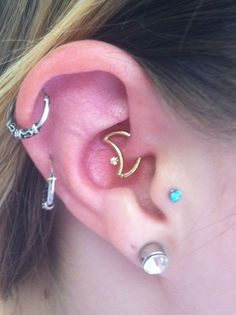 moon #daith piercing #jewelry, #tragus, 2x #helix, and lobes. #piercing