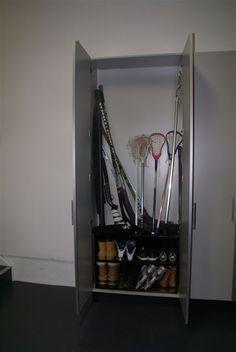 Store the kids' sports equipment in this convenient #cabinet. #garage #storage  www.closetsbydesign.com 1-800-293-3744