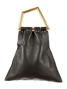 From the Spring 2014 Runway Collection. Black leather Céine Triangle Open Sac bag with gold-tone hardware, dual metal top handles, suede lining, interior zip pouch and open top. Includes dust bag. Shop Céline designer handbags on sale at The RealReal.