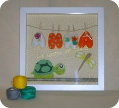 Cuadro en fieltro con tortuga - Felt Ribba frame with turtle
