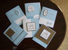 Teddy and Trains stamp set. Baby boy thank you cards by Janet Hill. Just change the words and this would be good for 'congratulations' also.