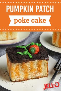 Make Halloween fun and festive with our delicious Pumpkin Patch Poke Cake recipe. Decorate this pumpkin patch cake with pumpkin-shaped candies and vanilla cream-filled chocolate sandwich cookies for a spooky, scrumptious dessert. Poke Cake Recipes, Cheesecake Recipes, Dessert Recipes, Pumpkin Recipes, Fall Recipes, Holiday Recipes, Poke Cakes, Cupcake Cakes, Dump Cakes