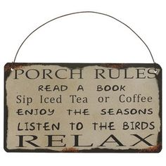 """Porch Rules"" Antique Wisdom Sign Wall Décor"