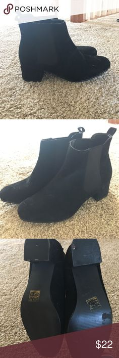 Chelsea Boots Black suede Chelsea Boots. Snug fit for a 7. Fits a 6/6.5 better. Never worn outside. Bought from Asos.                    Feel free to ask questions/more pictures, give comments/feedback, and  anything else you need! Truffle Collection Shoes Ankle Boots & Booties