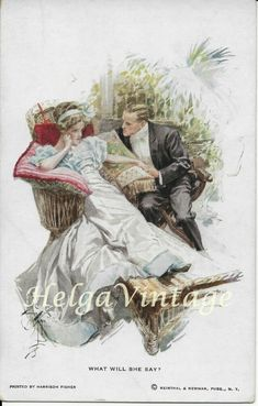 Harrison Fisher art postcard No. 'What will she say' rare piece 1917 She Said, Vintage Postcards, Fisher, Wedding, Painting, Ebay, Art, Vintage Travel Postcards, Valentines Day Weddings