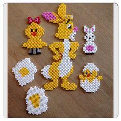 Easter hama beads by bonderosen Diy Perler Beads, Perler Bead Art, Pearler Beads, Fuse Beads, Fuse Bead Patterns, Perler Patterns, Beading Patterns, Iron Beads, Melting Beads