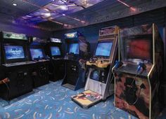 Arcade Room on the Enchantment of the Seas Royal Caribbean International, Royal Caribbean Cruise, Arcade Game Room, Arcade Games, Cruise Vacation, Vacation Trips, Home Bowling Alley, Enchantment Of The Seas, Crystal Cruises