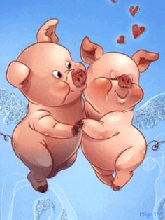 Animated wallpaper, screensaver 240x320 for cellphone..... PIGGY LOVE