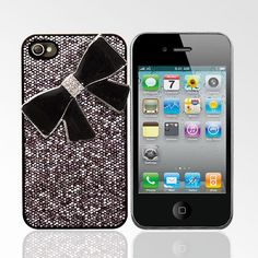 glitter case with black and silver rhinestone studded bow iphone 4/4S case