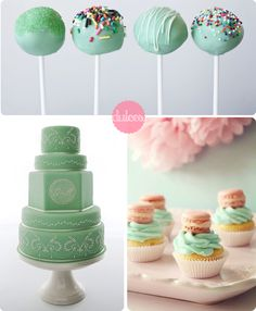 cakepops, wedding cake and macarons with a touch of mint