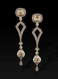 L'Or à porter - Coleção Turquia - Linha Kenar - Brinco de diamante bruto e brilhantes Brown