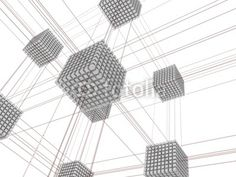 3D-modeled interlinked sets of grey cubes with red flows on a white background, referring to concepts such as data storage, relational databases, web hosting, data transfert, centralization and convergence of the information, computer systems, networks, as well as global communication / ID 13529723 / Copyright JNT Visual
