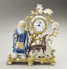 Mantel clock with Chinese figures