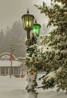 .Winter scene, green and yellow streetlamps