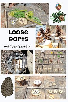Loose Parts Outdoor Academic Learning This post has some ideas for loose parts outdoor academic learning and fun in the sun. Free counting printable to use outdoors! via Carolyn Wilhelm, Wise Owl Factory Outdoor Education, Outdoor Learning Spaces, Forest School Activities, Nature Activities, Science Activities, Nature Based Preschool, Preschool Learning, Learning Centers, Summer Activities