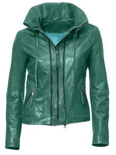 #HeineShoppingliste Lederjacke mit leichtem Used-Effekt in jade