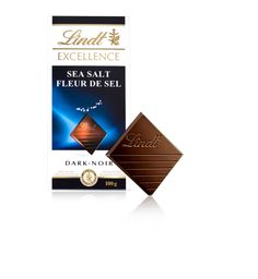 LINDT Excellence Sea Salt.  Lindt's finest aromatic dark chocolate refined with a touch of hand harvested sea salt - Fleur de Sel.