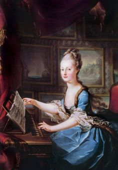 Marie Antoinette at the spinnet, just before her 1770 marriage, by Franz Xaver Wagenschön