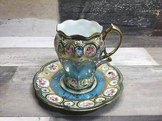 Vintage Antique Hand Painted Porcelain Tea Cup And Saucer