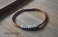 Genuine leather bracelets personalised choose your name id his hers magnetic easy to botton up by nattaranti on Etsy