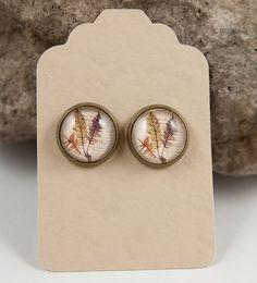 Fern Stud Earrings Post Earrings Botanical Earrings by KCowie, $13.95