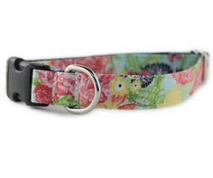 Flower Dog Collar - Flora Dog Collar - blue dog collar - teal dog collar